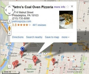 Snapshot of the Pietro's Pizza local listing on Google Maps showing relevance, proximity and reviews.