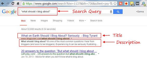 "snap of search result for ""what should I blog about?"""