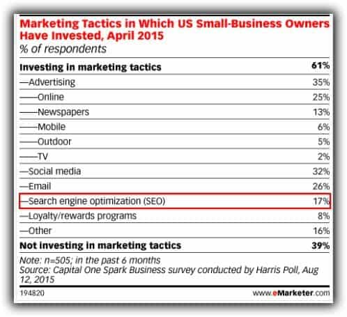 2015 survey by Capital One Spark Business showing only 17% of small businesses actively invest in SEO
